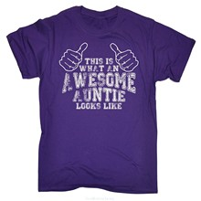 GILDAN This Is What An Awesome Auntie Looks Like T-SHIRT Aunt Funny Birthday Gift Simple Short-Sleeved Cotton T Shirt(China)