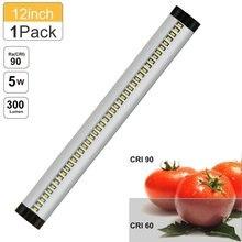 Silver LED Under Cabinet Lighting, CRI90 Dimmable SMD2835,12V Daylight White 5000K-6000K, 5W 300LM LED Night Light Lamp