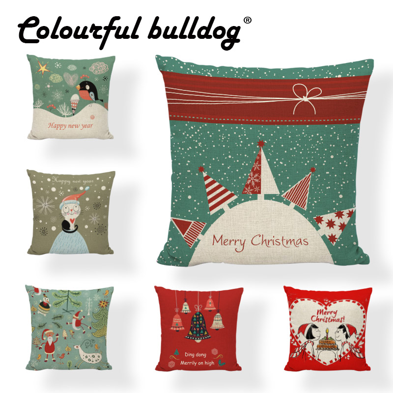 Nordic Style Cushion Cover Bow Tie Bouquet Ice Cream Christmas Tree 17*17In Music Symbol Sleigh Woon Decorate Room Pillow Case