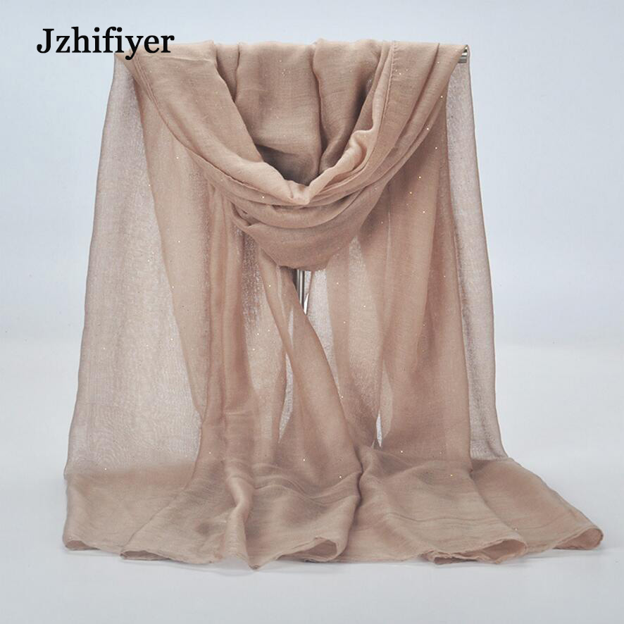 jzhifiyer Muslim hijab solid plain viscose glitter shinny hijabs shawls headband scarves 90G 90 180cm 10pcs lot mixed colors in Women 39 s Scarves from Apparel Accessories