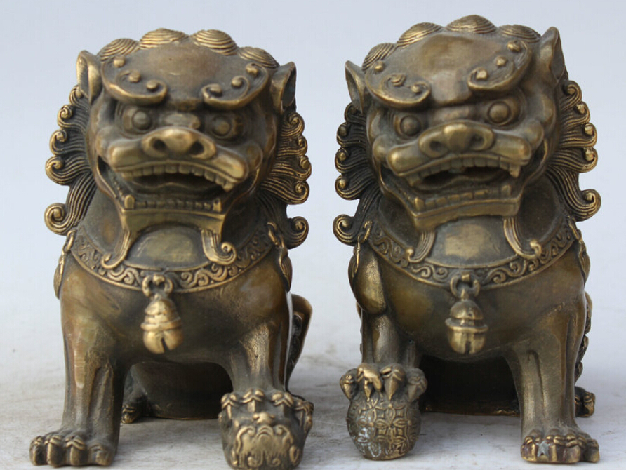 6 Chinese Feng Shui Folk Copper Fu Foo Dog Guardion Lion Door Ball Statue Pair S0705