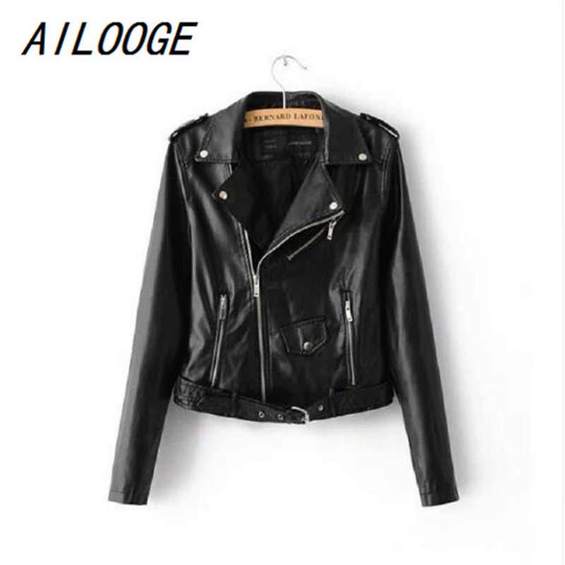 AILOOGE 2018 Lika Rulla New Spring Fashion Good Quality Ladies Basic Street Women Short PU Leather Jacket