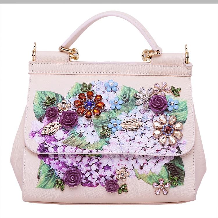 Luxury Designer Inspired Women Handbag Real Leather Embellishments Hydrangea Printed Mini Leather Shoulder Bag (7)