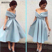 Simple Blue Short Satin Prom Dresses 2019 Pocket Tea Length Off the Shoulder Formal Party Gowns vestidos de fiesta abendkleider