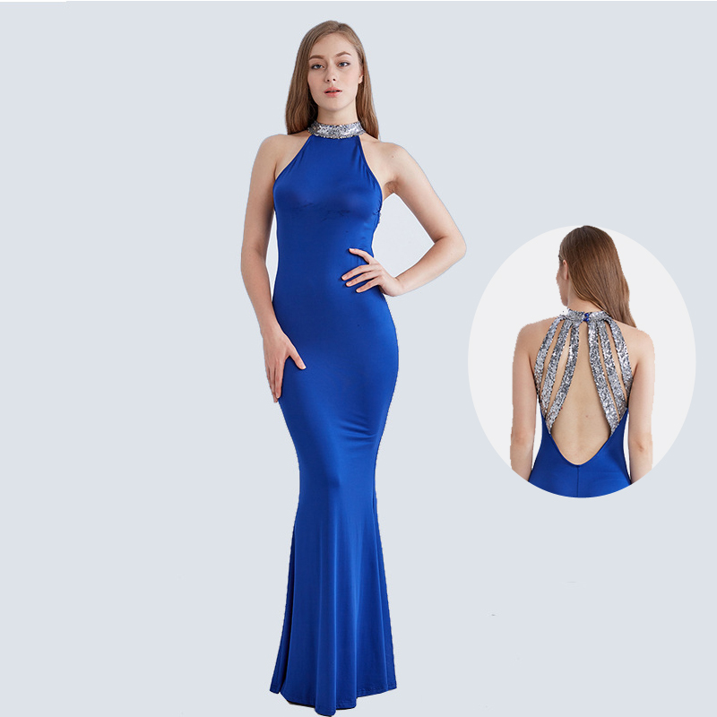 Buy Sequin Halter Long Dress Women Elegant Backless Evening Party Maxi Dresses Sexy Lady Blue Black Bodycon Formal Prom Vestidos