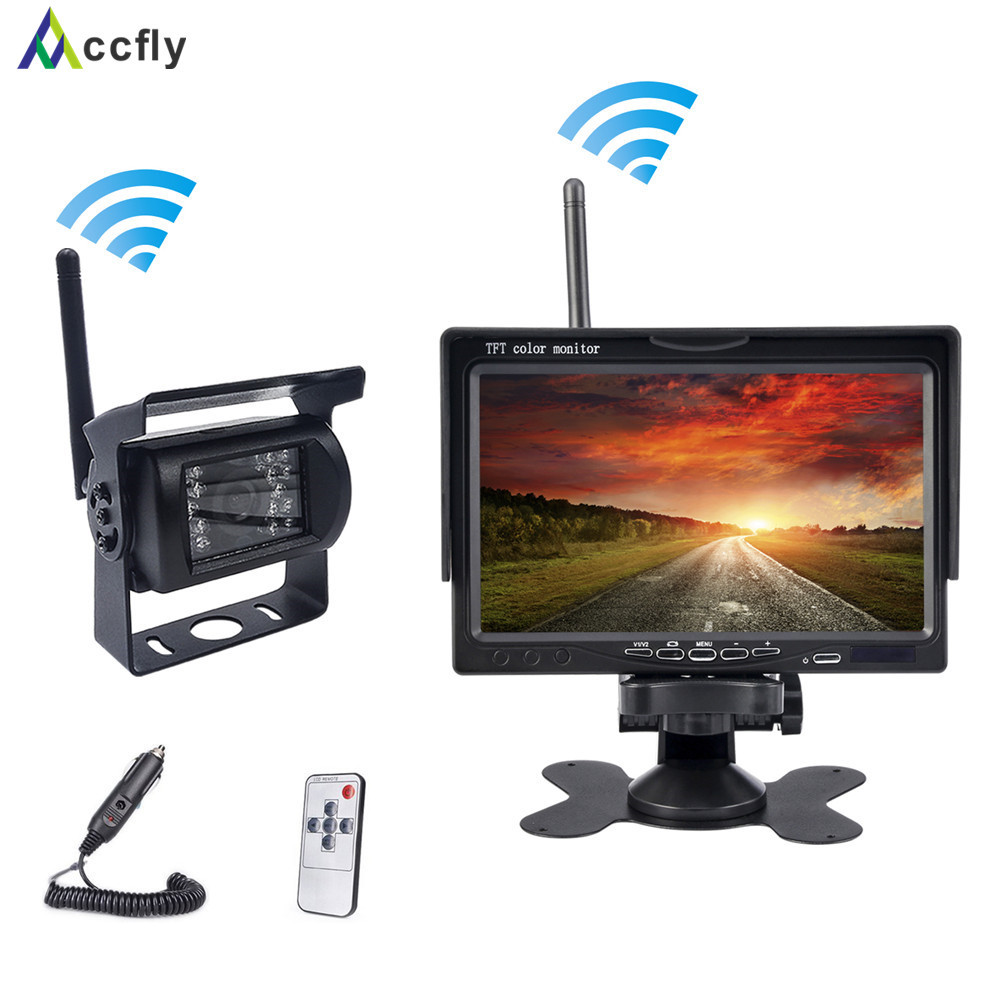 Accfly 12V 24V Wireless car reverse reversing backup rear view camera for trucks bus excavator caravan RV trailer with monitor