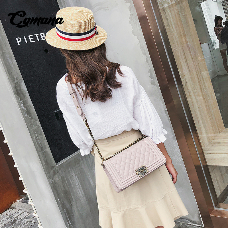 CGmana Women handbag 2018 Luxury Handbags Women Bags Designer Simple Shoulder Messenger Bag Lingge Chain Handbag Bolsa Feminina in Shoulder Bags from Luggage Bags