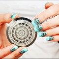 Полный цветочный дизайн круглый нержавеющей стали ногтевых пластин qgirl30 серии ногтей изображение Konad печать штамп штамповка маникюр шаблон
