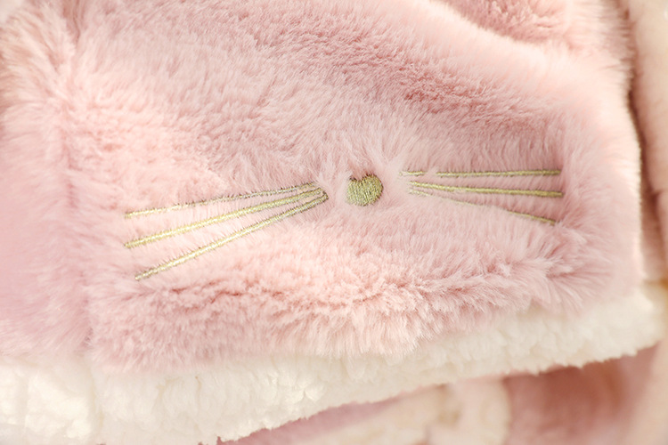 Cute Pink Comfy Blanket Sweatshirt Winter Warm Adults and Children Rabbit Ear Hooded Fleece Blanket Sleepwear Huge Bed Blankets 167