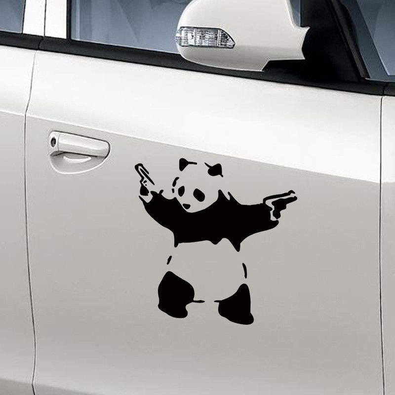 2017 new funny car sticker fancy panda with gun shape decal sticker car window motorcycle decal sticker in car stickers from automobiles motorcycles on