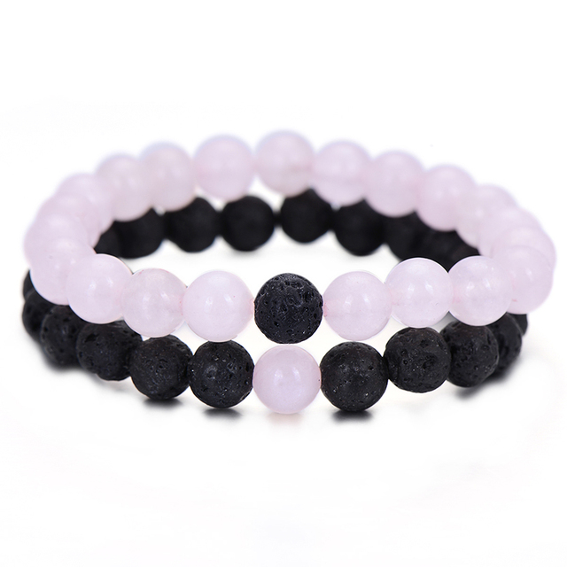 2Pcs/Set Trendy Distance Bracelet Sets Natural Stone Pink and Black Beaded Bangl