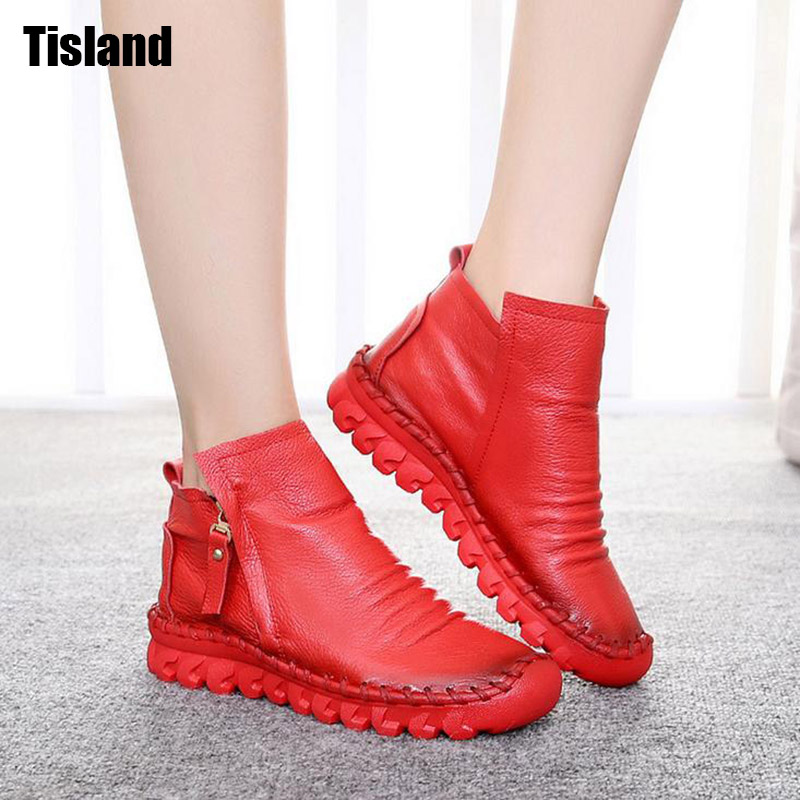 Handmade Women Boots,Fashion Round Toe Zip Closed Women Genuine Leather Ankle Boots Female Soft Comfortable Flats Shoes 35~40 front lace up casual ankle boots autumn vintage brown new booties flat genuine leather suede shoes round toe fall female fashion