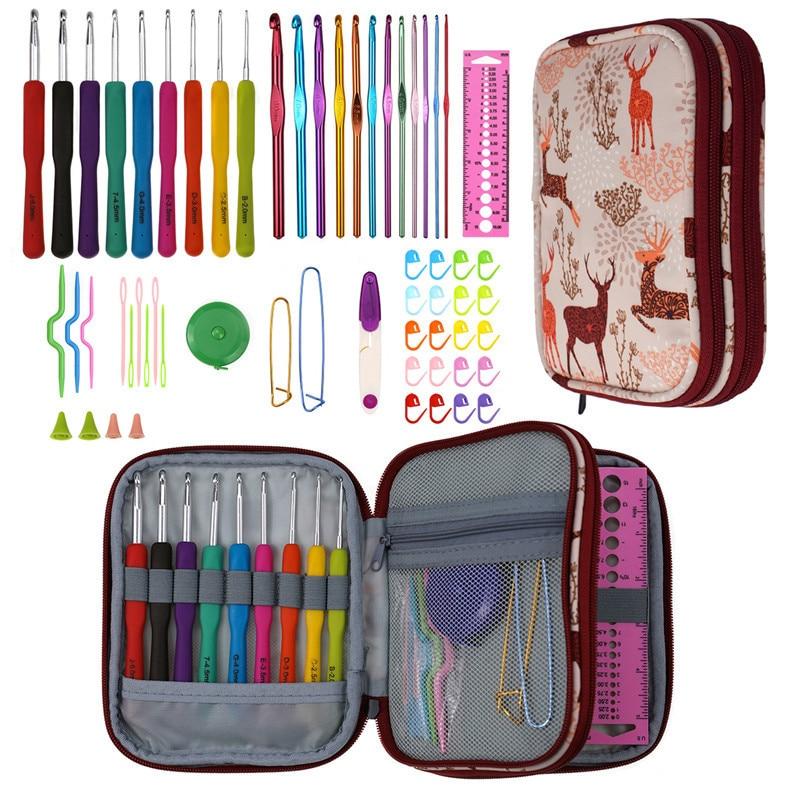 9 Styles Crochet Hooks Needles Set Yarn Weave Knitting Hook Scissors Rulers Sewing Tools Kit with bags