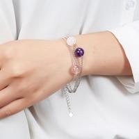 Hutang Natural Rose Quartz Koraliki Link Bransoletka Ametyst Stałe 925 Sterling Silver Fine Jewelry Boże Narodzenie Nowy Rok Prezent dla 2018