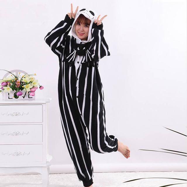a569a03a1 Skeleton Jack Onesies Pajamas Unisex Adult Pajamas Cosplay Costume ...