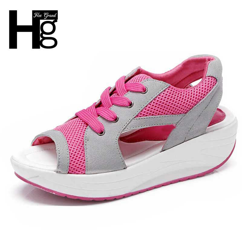 ФОТО HEE GRAND Hot Healthy Women Sandals Peep Toe Women's Wedge Casual Shoes Popular Colorful Summer Shoes Woman XWZ189