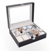 Couro 10 Slots Relógio de Pulso Titular de Exibição Caixa de Armazenamento Organizador Caixa