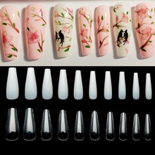 Artificial False Nails Ballerina Clear/Natural/white Long Coffin Tips Fake Full Cover Detachable Art JZJ3013