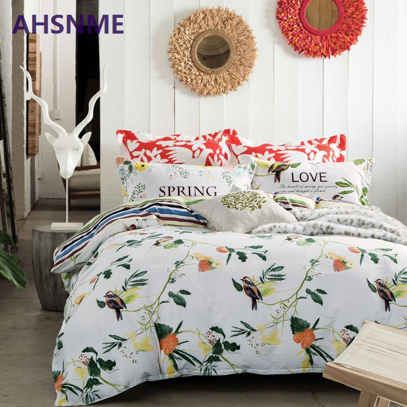 AHSNME 100% Cotton Bedlinen Nordic bedclothes multi size bedcover Woods and birds duvet cover pillowcase bedding set Bed Set