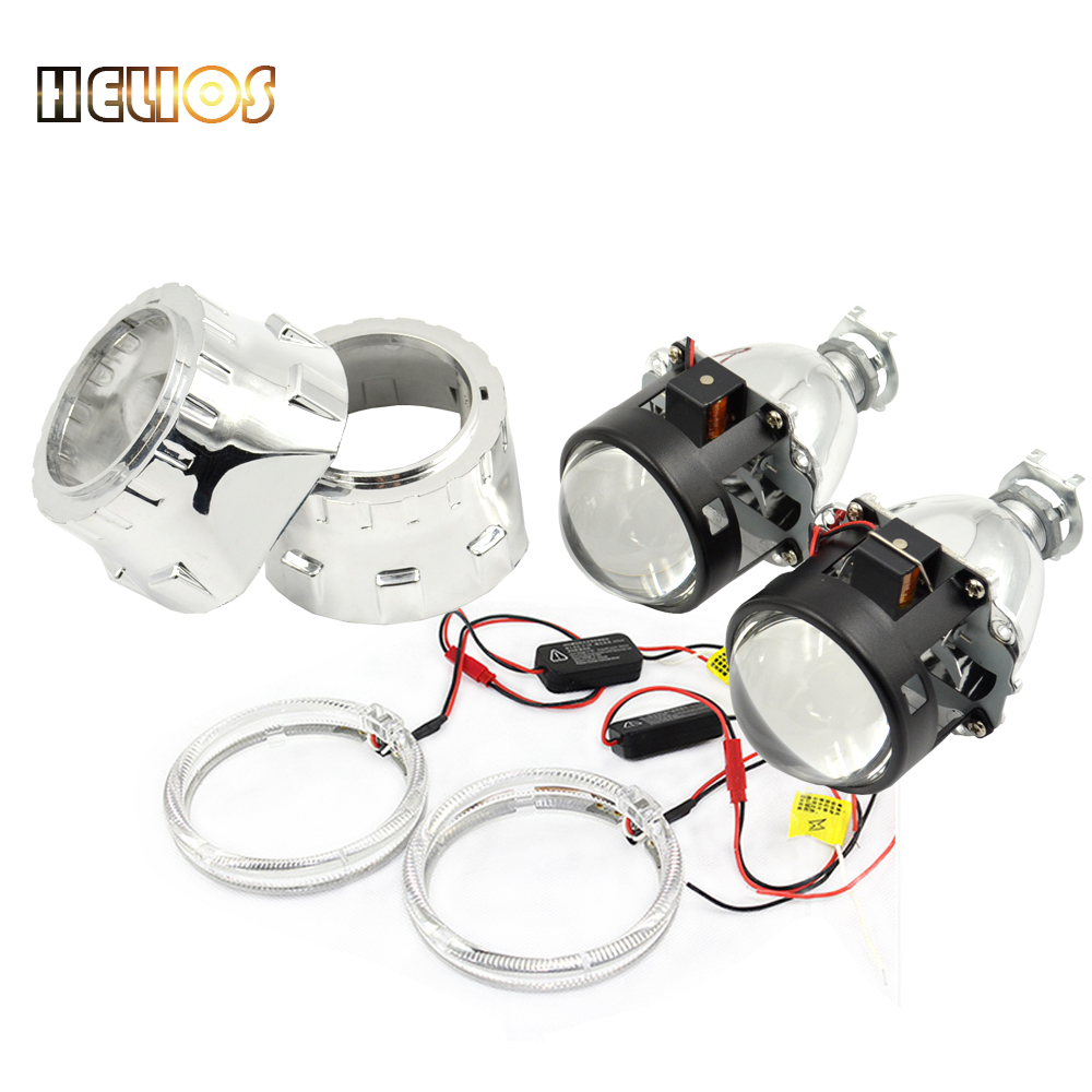 ФОТО Car styling 2.5 inches bi xenon projector lens with shrouds and dual doulbe cob angel eyes xenon H1 and H7 H4 base lens