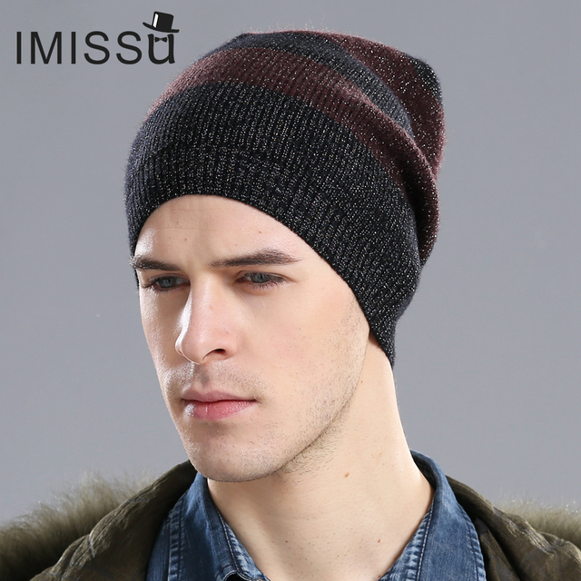 IMISSU Men's Winter Hat Beanie Knitted Real Wool Skullies Casual Caps Solid Colors Gorros Bonnet Femme Casquette Hats for Men