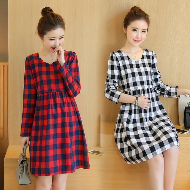 cd912a3c8ab Maternity Dress Spring Autumn Maternity Clothes for Pregnant Women Long  Sleeve Grid Loose Pregnancy Clothes Casual Gravidas