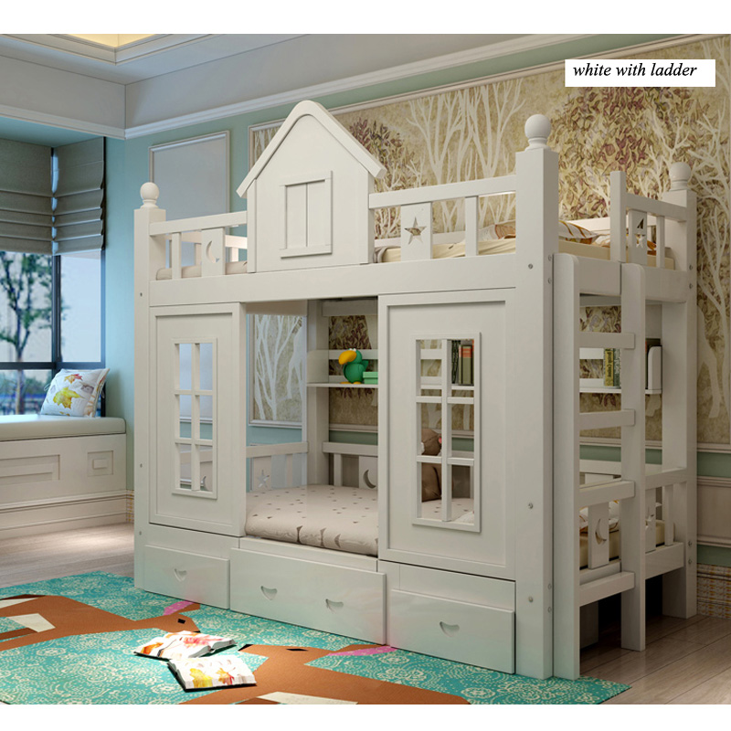 14  0128TB006 Fashionable kids bed room furnishings princess fortress with slide storages cupboard stairs double kids mattress HTB1xPD9e