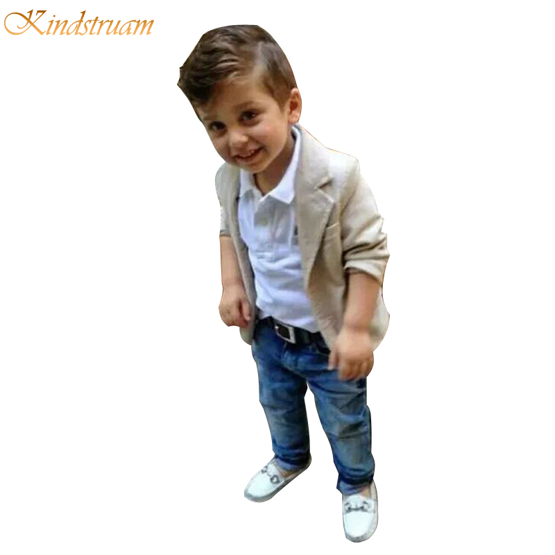 2016 Baby Boys Clothing Sets 3 Pieces Blazer + T Shirt Jeans European Style Children Casual Suits Kids Wear, HC563