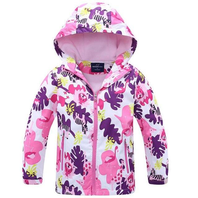 2019 брендовая флисовая куртка с цветочным принтом для девочек, одежда для детей, От 3 до 12 лет, верхняя одежда для девочек, пальто, весна-осень, Детские ветровки