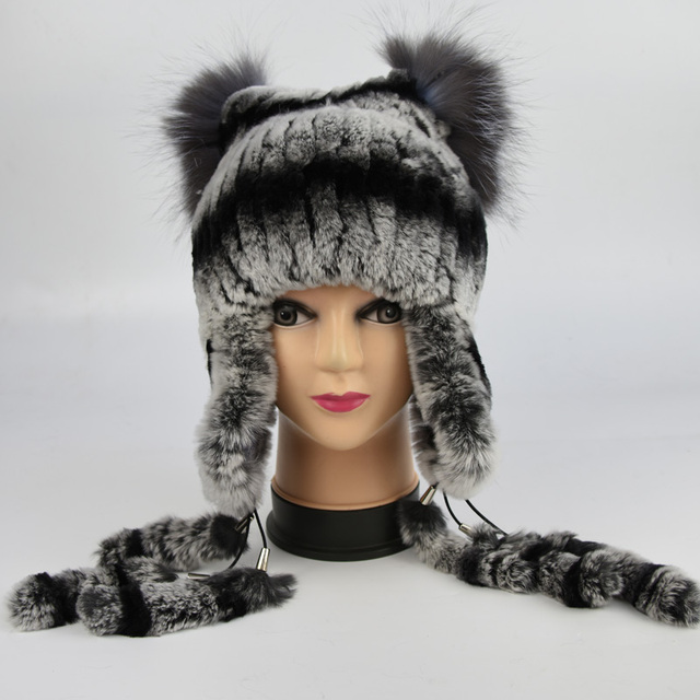 2017 New Women's Real Rabbit Fur Hat Knitted luxury Rex Rabbit Fur Ear Protector Caps Winter Warm Real Silver Fox Fur Headwear