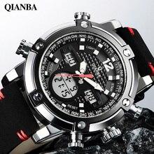 Qianba топ люксовый бренд мужчины спортивные часы двойной дисплей кварцевые аналоговый цифровой светодиодный календарь военные наручные часы relogio masculino
