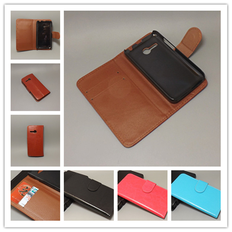 Crazy horse wallet case hold two Cards with 2 Card Holder and pouch slot Lenovo A316 A316i