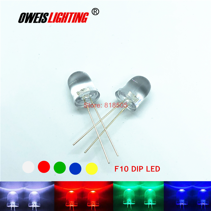 10PCS 10MM F10 DIP LED Round Water Clear Long Legs  RED / TRUE GREEN / BLUE / YELLOW / WHITE ULTRA BRIGHT 20mA