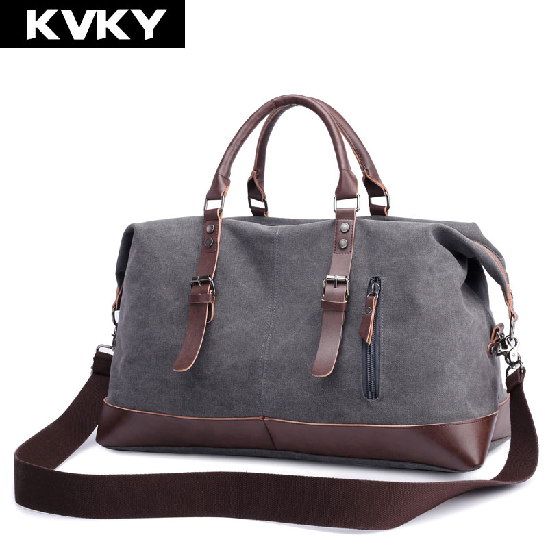 KVKY Vinatge Canvas Men Handbags Large Capacity Travel Messenger Bags Casual Totes Men's Crossbody Shoulder Bag Solid Male Bolsa augur large capacity men women crossbody bag for pad handbags canvas shoulder bag messenger bag