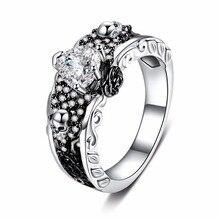 Rosa flor cráneo anillos de los hombres y las mujeres Punk esqueleto dos tono plateado corazón AAA Zircon boda anillo de dedo Europeo Americano nuevo diseño