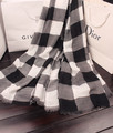 Pequeno fresco lenço preto e branco pequeno xadrez cachecol capa dupla feminina outono e inverno