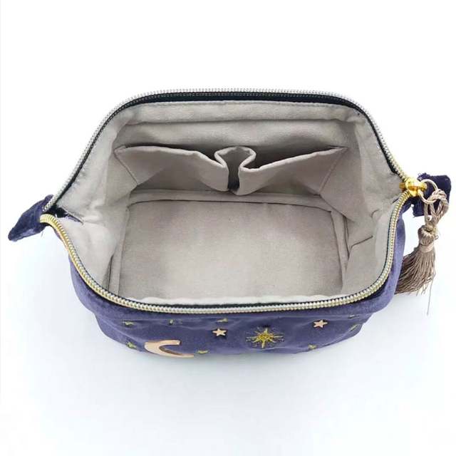 Cute Velvet Embroidery Cosmetic Bag Travel Organizer Women Makeup Bag Zipper Make Up Pouch with Moon Star Tassel Deco 3
