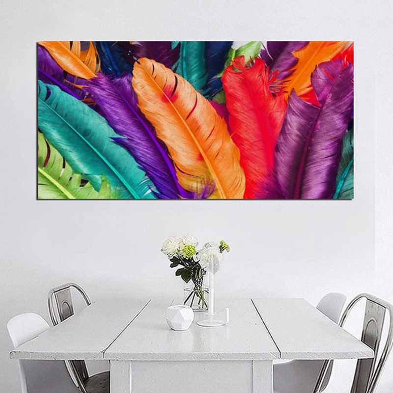 Самоотверженные Большие размеры настенные картины золотой перо печать плакаты абстрактные картины на холсте для гостиной без рамы