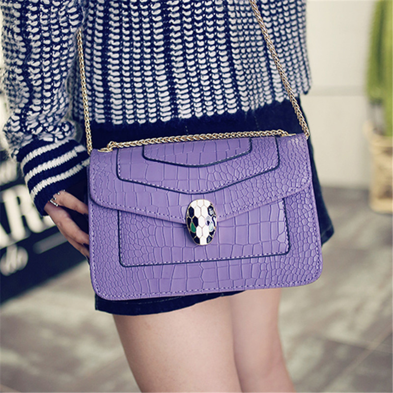 Crocodile font b handbag b font simple chain Korean tide models vertical cross section head shoulder