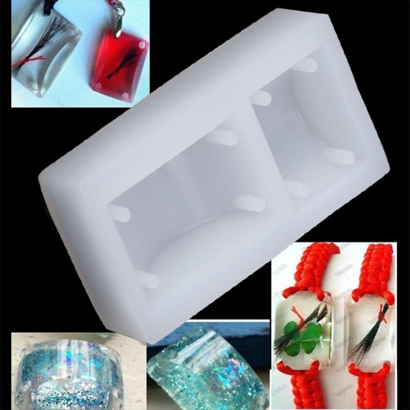 Rectangle Silicone DIY Mold Bracelet Pendant Jewellery Making Mould Resin Hole