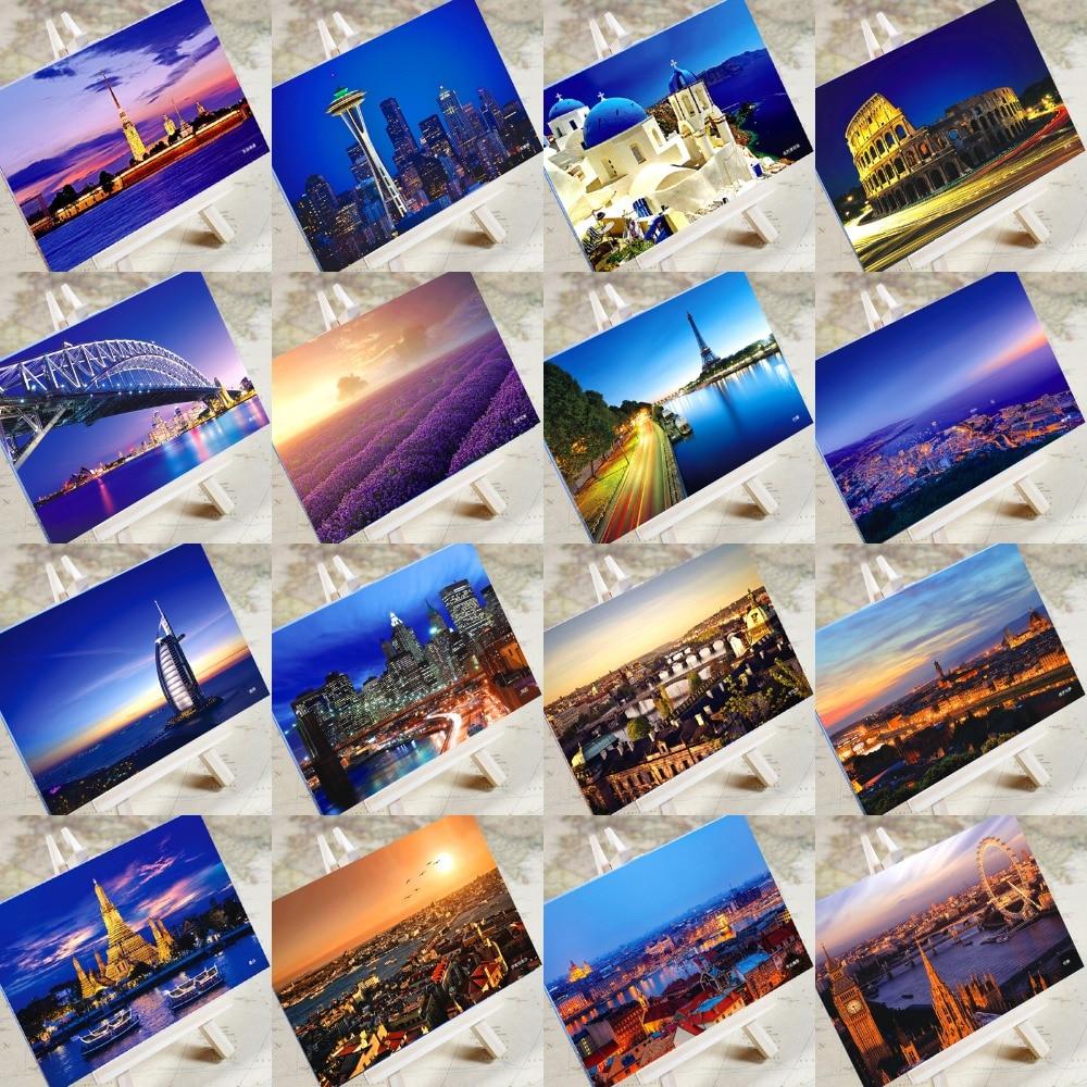 6 pcs in one,Postcard,Charm Tourist City,Christmas Postcards Greeting Birthday Message Cards Paris Venice Dubai Bangkok London guerre moderne lego