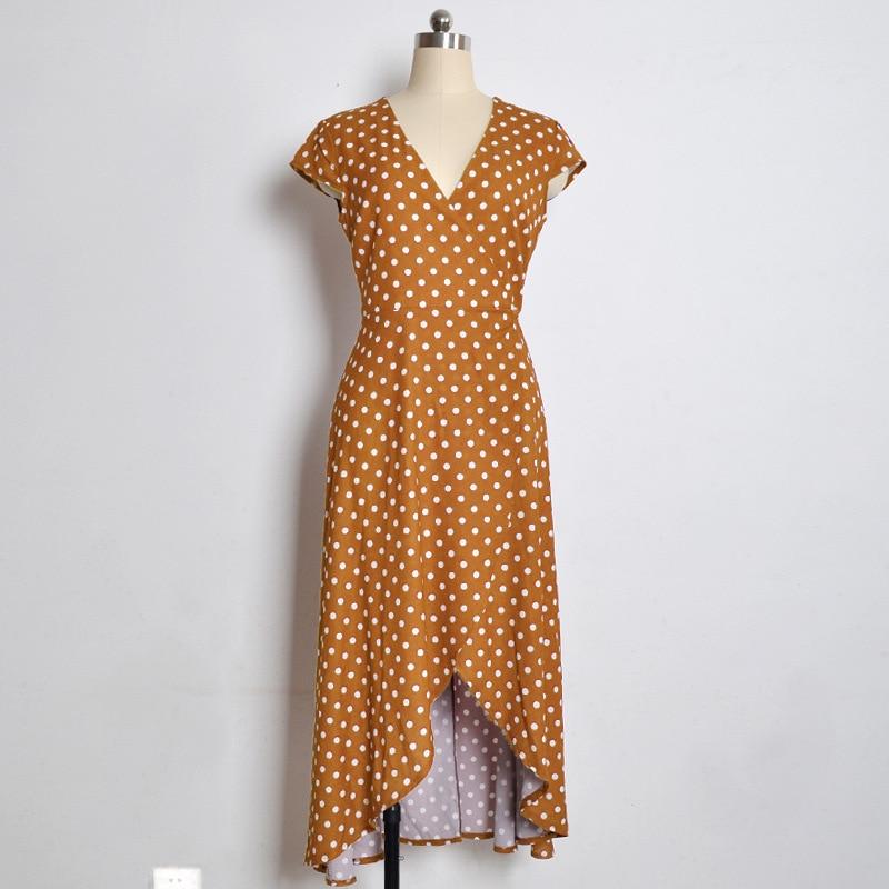 2019 Polka Dot Dress Summer Dress Women Beach Dresses Bohemian V Neck Split Asymmetric Long Elegant Party Vestidos Wrap Dresses in Dresses from Women 39 s Clothing