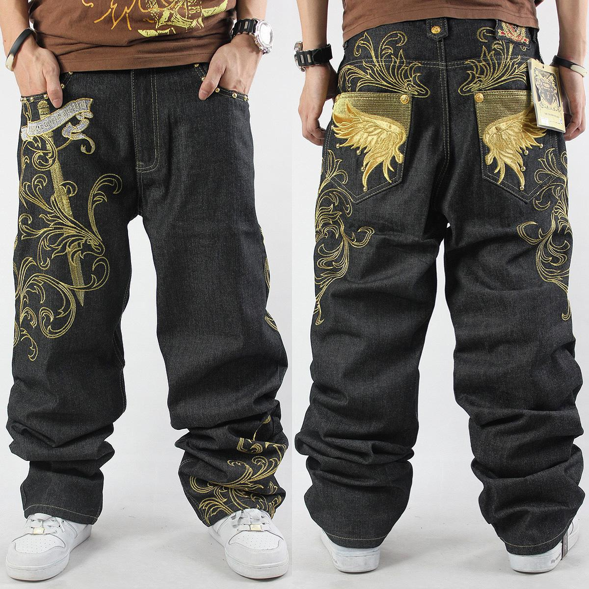 2016 New Mens Hip Hop Baggy Jeans For Street Dancing & Skateboard Loose Fit High Quality Embroidery Plus Size 30 To 46 Hot Sale graffiti letters men baggy jeans mens hip hop jeans long loose fashion skateboard baggy relaxed fit jeans men street dance pants