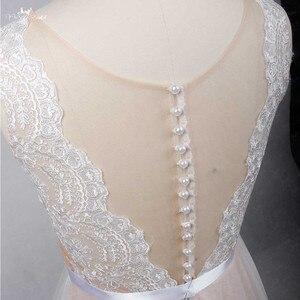 Image 4 - RSW1257 الوهم عودة العنق رخيصة بسيط فستان زفاف بيتش