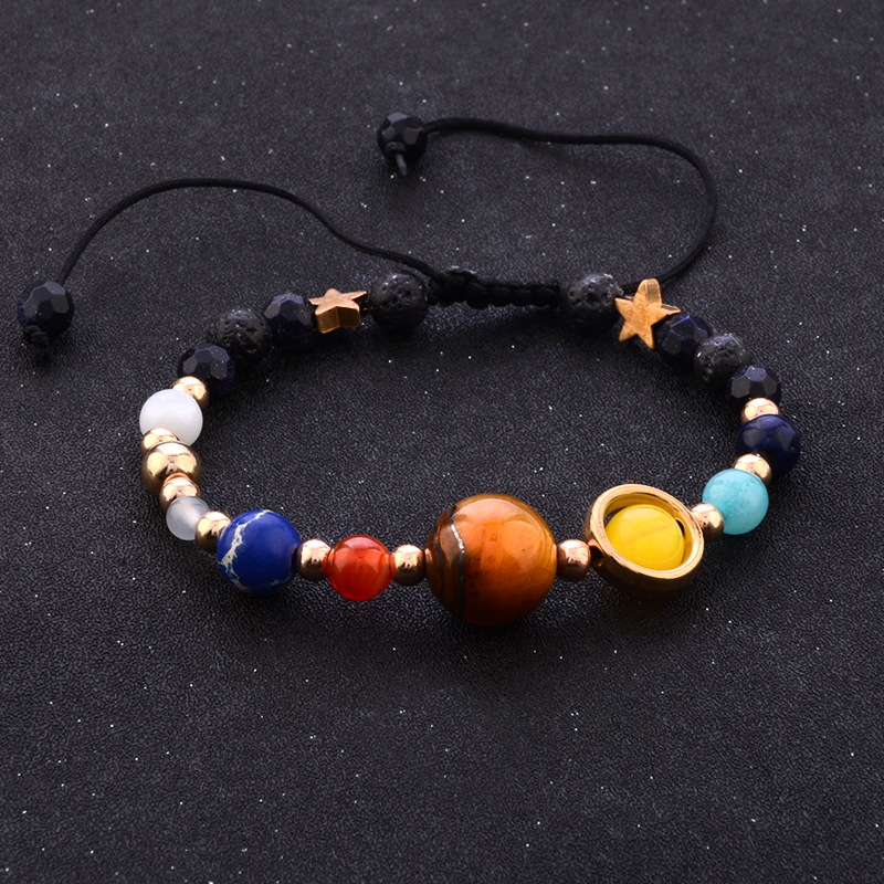 Octbyna Fashion Universe Galaxy the Eight Planets Solar System Guardian Star Natural Stone Beads Bracelet for Women Men Gifts
