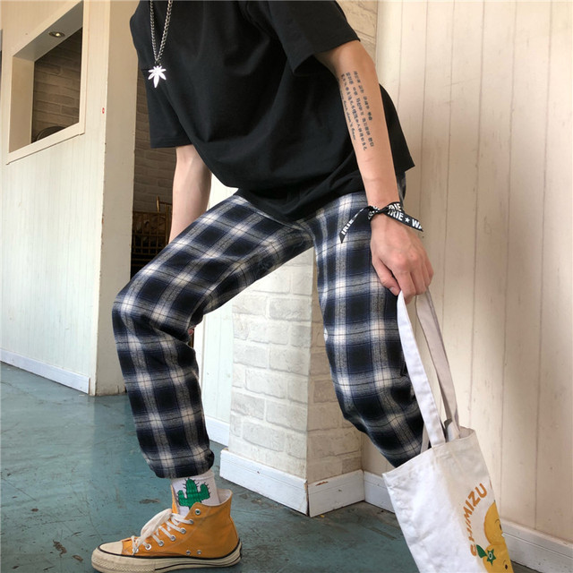 Men S Check Tartan Trousers Casual Trousers Fashion Tassel Trousers