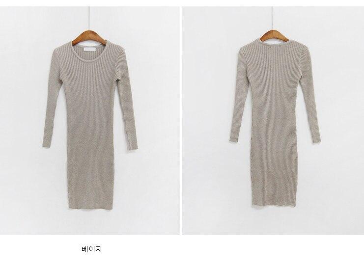 HTB1xPF1binrK1Rjy1Xcq6yeDVXa6 - skinny  solid Elegant Autumn Dress Girls Boho Female Vintage Dress knitting Women LongSleeve Women Dresses knitted Robe Vestido