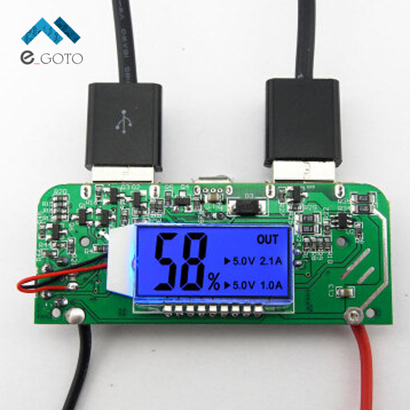 Dual USB 5V 2 1A 1A Mobile Power Bank Charger PCB Board Boost Step up Module