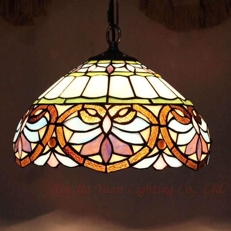 European  handmade Tiffany stained  Glass Art Suspended Luminaire E27 110-240V Chain Pendant lights  for Home ParlorEuropean  handmade Tiffany stained  Glass Art Suspended Luminaire E27 110-240V Chain Pendant lights  for Home Parlor