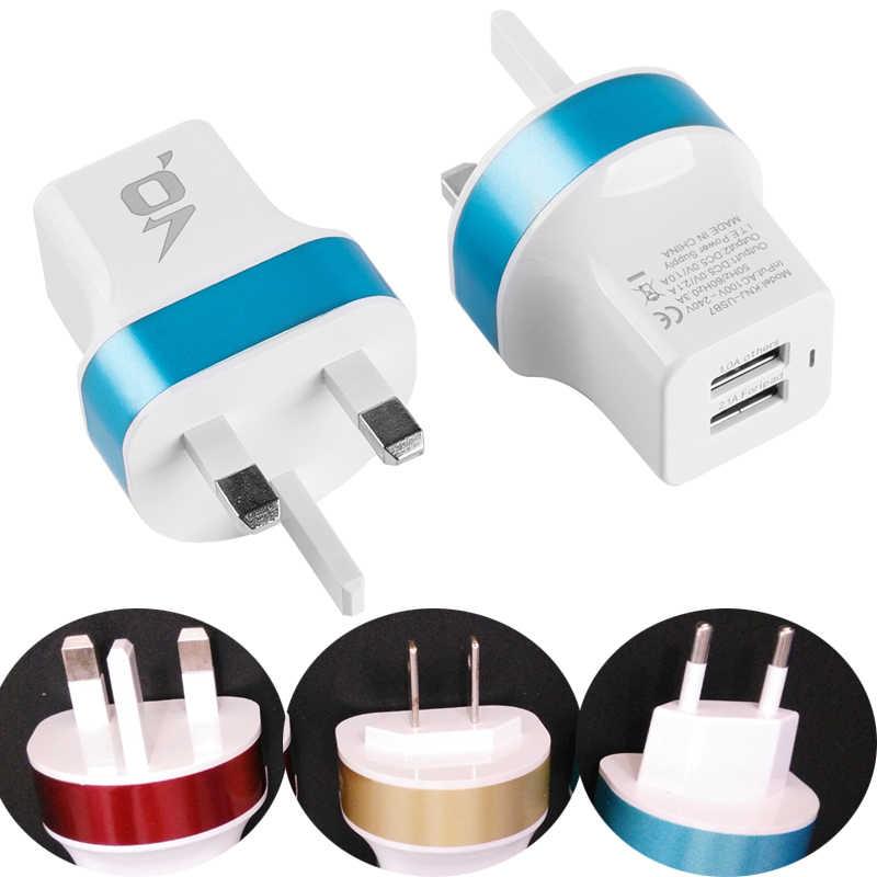 Adaptador de corriente de pared portátil de 1 unidad, toma de corriente USB, toma de corriente de CA, 2 tomas USB, adaptador de toma de corriente UE UK nos enchufe de cargador de viaje